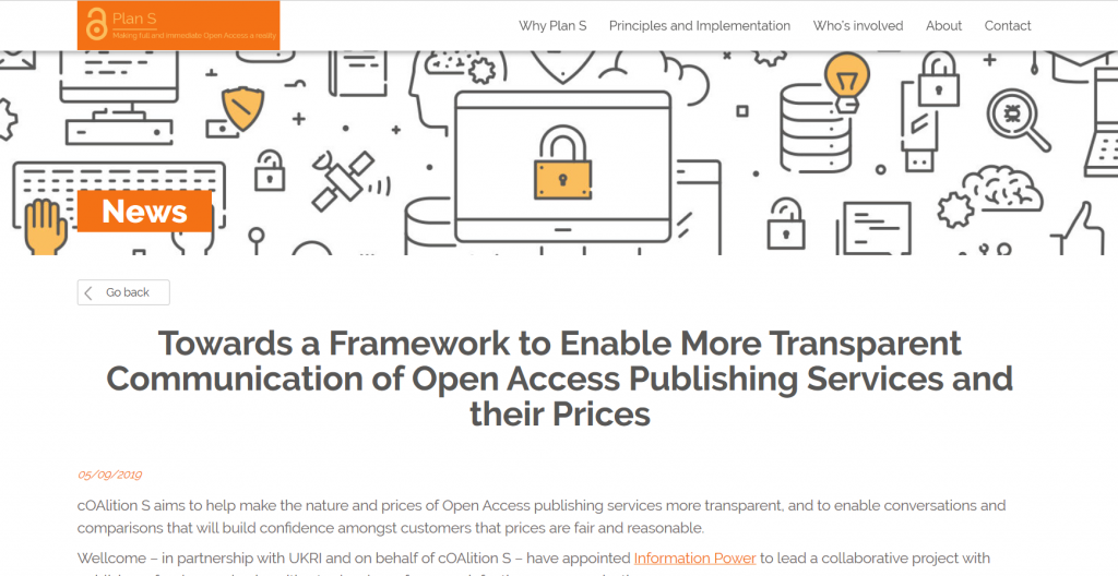 A screenshot from the cOAlition S website page announcing launch of a new OA project on transparent communication of OA services and prices